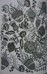 Art - Colouring - Wallpaper Pattern: Black & White Floral (Small)