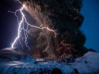 lightning over Eyjafjallajokull volcano 2010