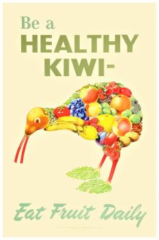 Themes Vintage illustrations/pictures - health poster - Be a healthy Kiwi, eat fruit daily