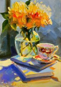 Royal Dalton Teacup and Roses Painting by Cecilia Rosslee