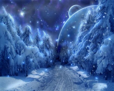 Blue Moon Winter Night