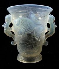 Barolac Opalescent Glass Seahorse Vase.