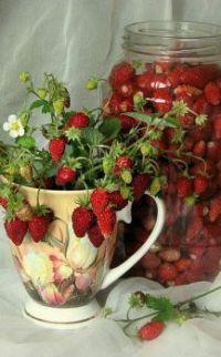 Nature morte , des fraises.