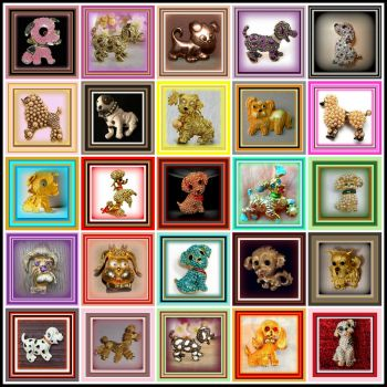 Theme- Puppies and Kittens - 25 Vintage Brooches for you to enjoy.