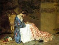 William Wallace Gilchrist Jr  Girl Sewing a Party Dress