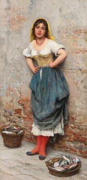 """Eugene de Blaas, """"A Young Fishwife"""", 1895"""