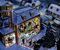 Holiday Buffet, art by Frederick Siebel.