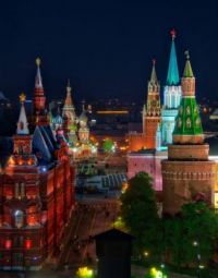 Illuminated Kremlin at night, Moscow, Russia