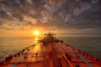 Tanker into sunset