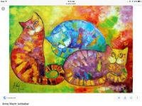 3 colorful cats