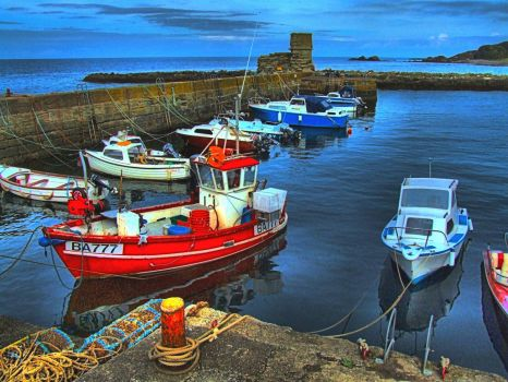 HDR of Dunure Harbour, Scotland - 12th Sep 2008