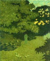 Pierre Bonnard: Mujer con vestido verde en un jardín, 1892