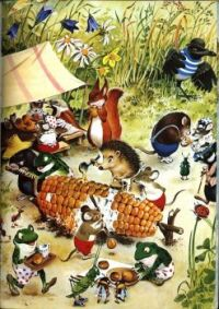 Tony Wolf Illustration Woodland Folk Pick Corn