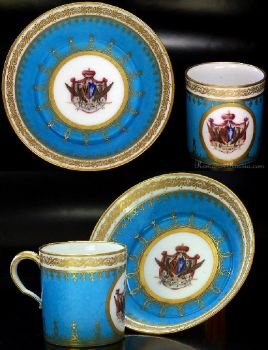 Exceptionally Rare & Highly Important Russian Antique Sevres Armorial Porcelain Cup & Saucer ...  1793