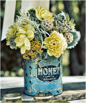Flowers in a Blue Can