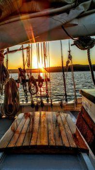 Sailboat Deck at Sunset