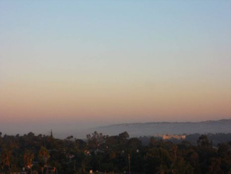 Looking toward La Jolla  -  she still has her toes in the Pacific mist.