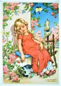 Themes Vintage illustrations/pictures - Tired little Girl