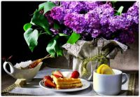 Breakfast with Waffles, Fruit, and Lilacs