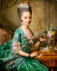 Pricess Sophie Friederike holdinga picture of Christian Ludwig of Duke of Mecklenburg