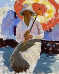 Girl with parasol  Charles W. Hawthorne
