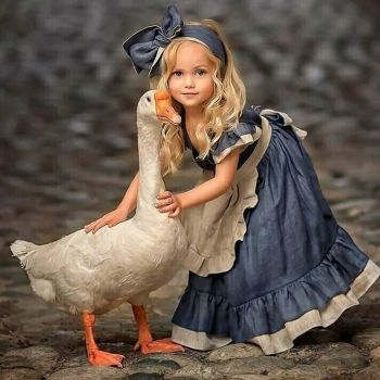 Little Girl with Her Pet Goose