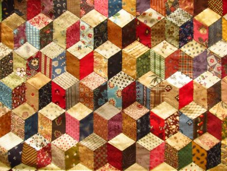 "Detail of Antique ""Building Blocks"" Quilt"