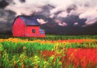The Red Barn with Sunflowers