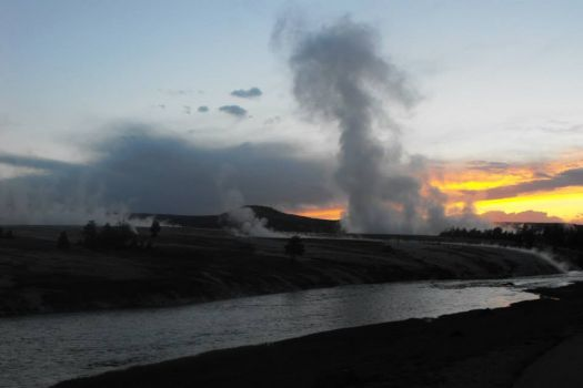hot springs at sunset-Yellowstone