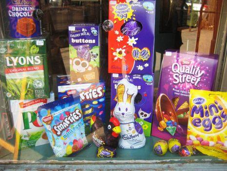 UK Easter candy in Brooklyn shop window