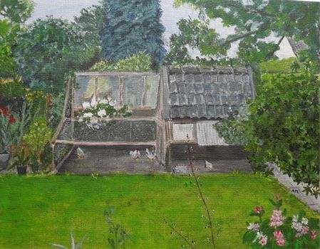 15-10-09;  my painting of our hen-house.