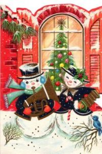 Vintage 1950s Christmas Card - Musical Snowpeople