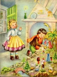 Children set out their Nativity scene ~ Illustration by Mariapia, 1950 ~ Vintage Christmas Card