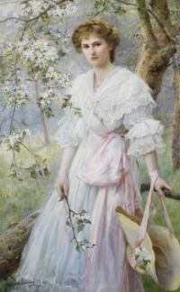 Portrait of a girl amongst blossoms