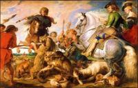 the wolf and the fox hunt, by rubens, 1615