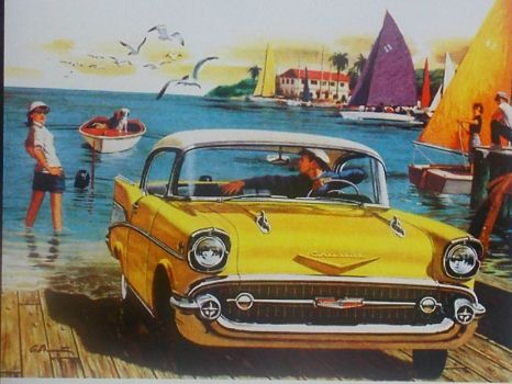 A fun, summer day at the lake with your new 57 chevy how cool is that!!!(spunky & the bandit).