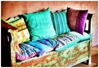 Weathered Storage Bench with Pillow Covered Seat