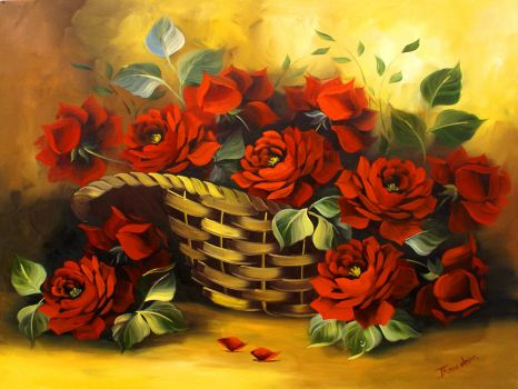 Basket of Red Roses by Rinaldo Escudeiro
