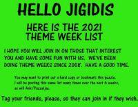 FIRST NOTICE:  2021 Theme Week List