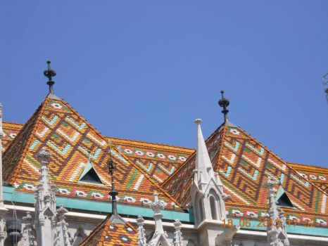 Beautiful roof tiles of a church in Budapest