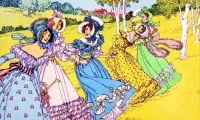 Five Regency Period Women Walking in the Countryside