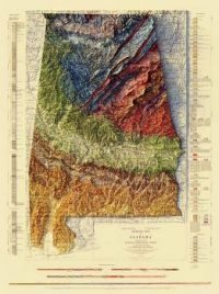 Alabama Geological 1926 Relief Map