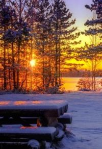 Picnic table at sunset in winter