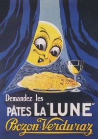 Moon and Pasta, Whimsical Vintage Art