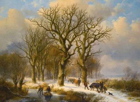 "Eugene Verboeckhoven, ""Winterscape with Cattle Drivers"""