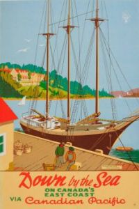 Unknown - oringal vintage Canadian pacfic poster - dwon by the sea, the digby pines hotel - 1946