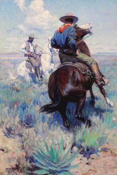 William Herbert Dunton (American, 1878–1936), Across the Intervening Desert the Eyes of the Two Men Met in Grim Defiance (1910)