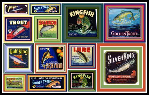 Wishin' I was Fishin' Vintage Fruit Crate Labels Depicting Fish
