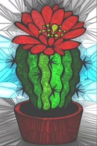 STAINED GLASS FLOWER B9