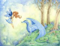 Fairy and blue dragon